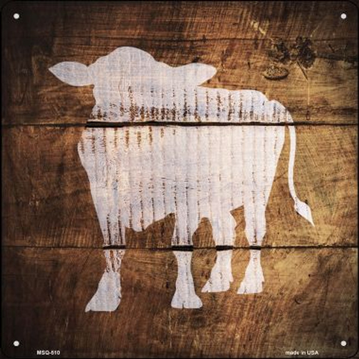 Cow Painted Stencil Novelty Mini Metal Square MSQ-510