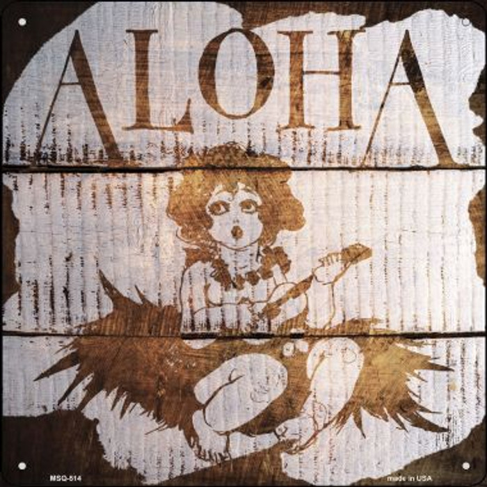 Aloha Painted Stencil Novelty Mini Metal Square MSQ-514