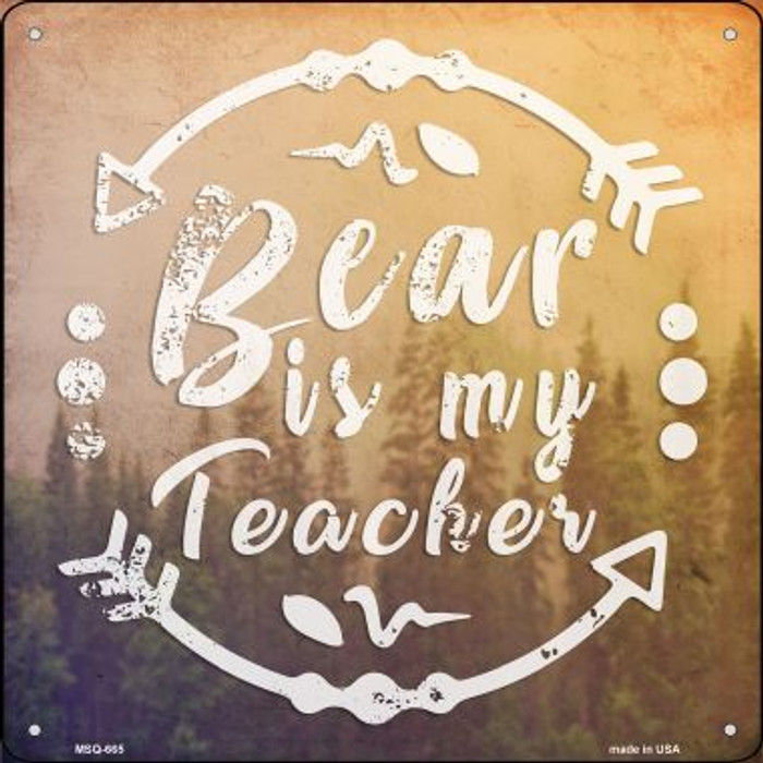 Bear is My Teacher Novelty Mini Metal Square MSQ-665