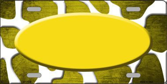 Yellow White Oval Giraffe Oil Rubbed Metal Novelty License Plate