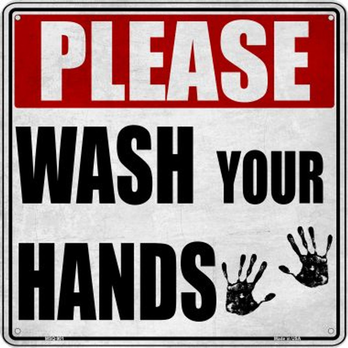Please Wash Your Hands Novelty Mini Metal Square MSQ-901
