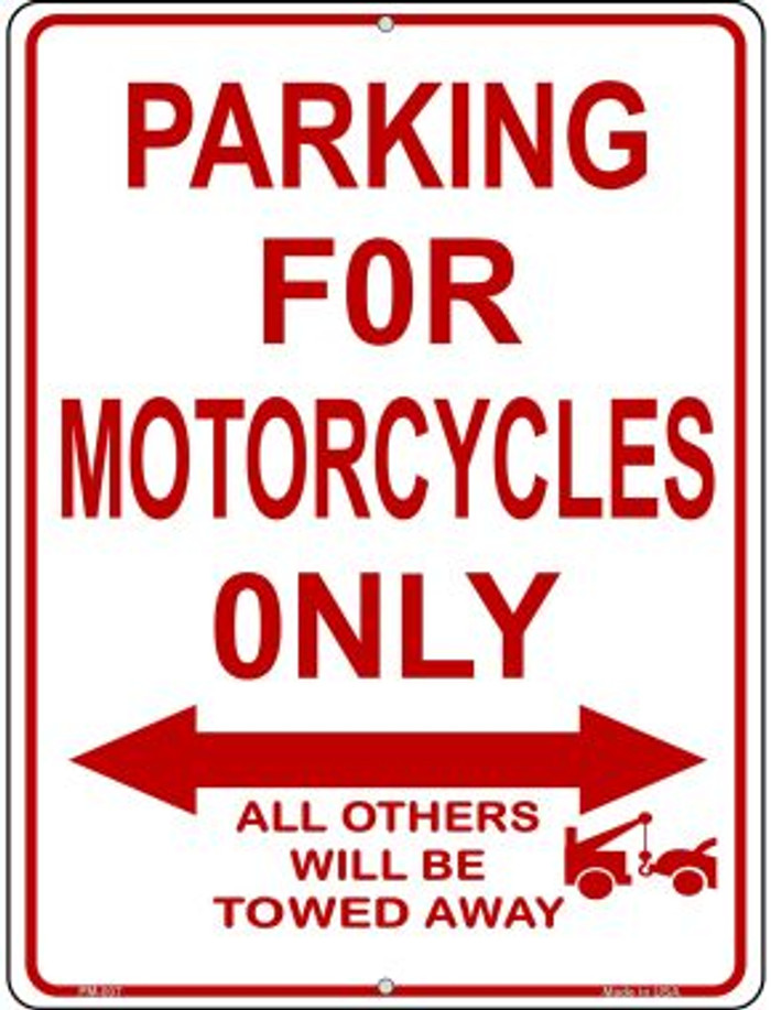 Motorcycle Parking Only Novelty Mini Metal Parking Sign PM-007