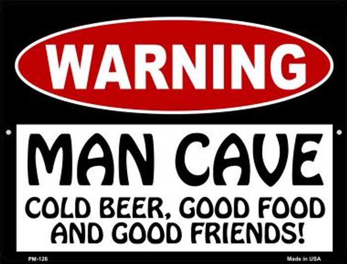 Man Cave Cold Beer Good Friends Novelty Mini Metal Parking Sign PM-126