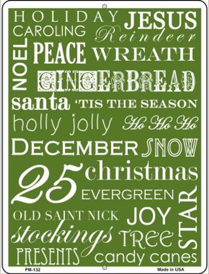 Green Holiday Wrap Novelty Mini Metal Parking Sign PM-132
