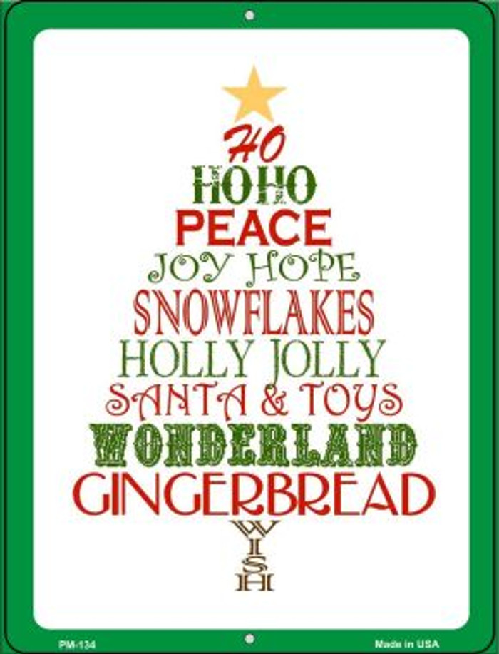 Christmas Tree Novelty Mini Metal Parking Sign PM-134