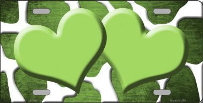 Lime Green White Hearts Giraffe Oil Rubbed Metal Novelty License Plate