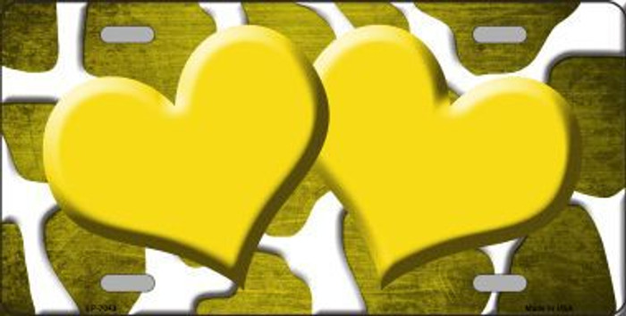 Yellow White Hearts Giraffe Oil Rubbed Metal Novelty License Plate