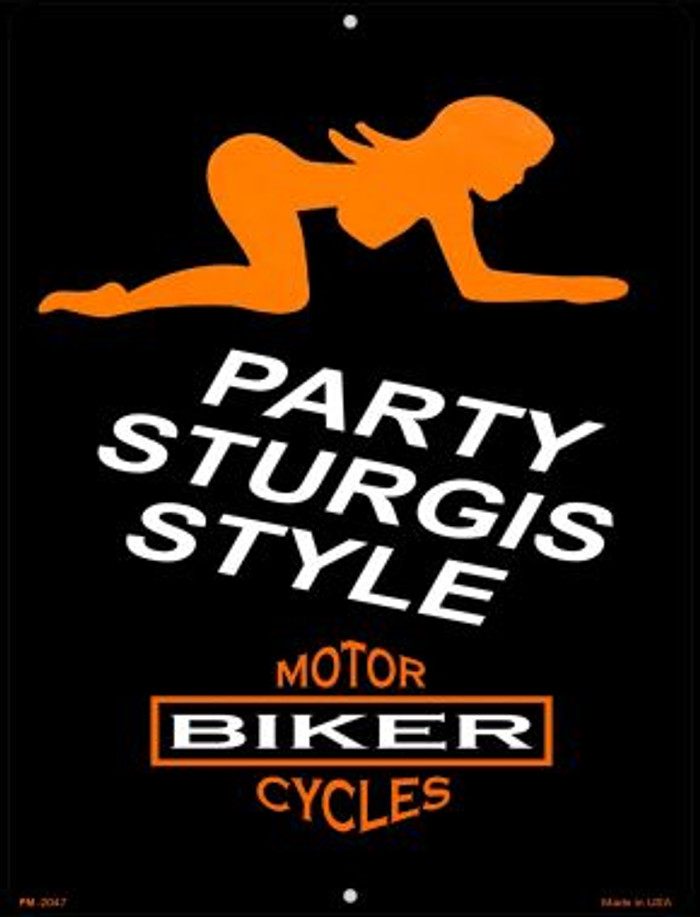 Party Sturgis Style Novelty Mini Metal Parking Sign PM-2047