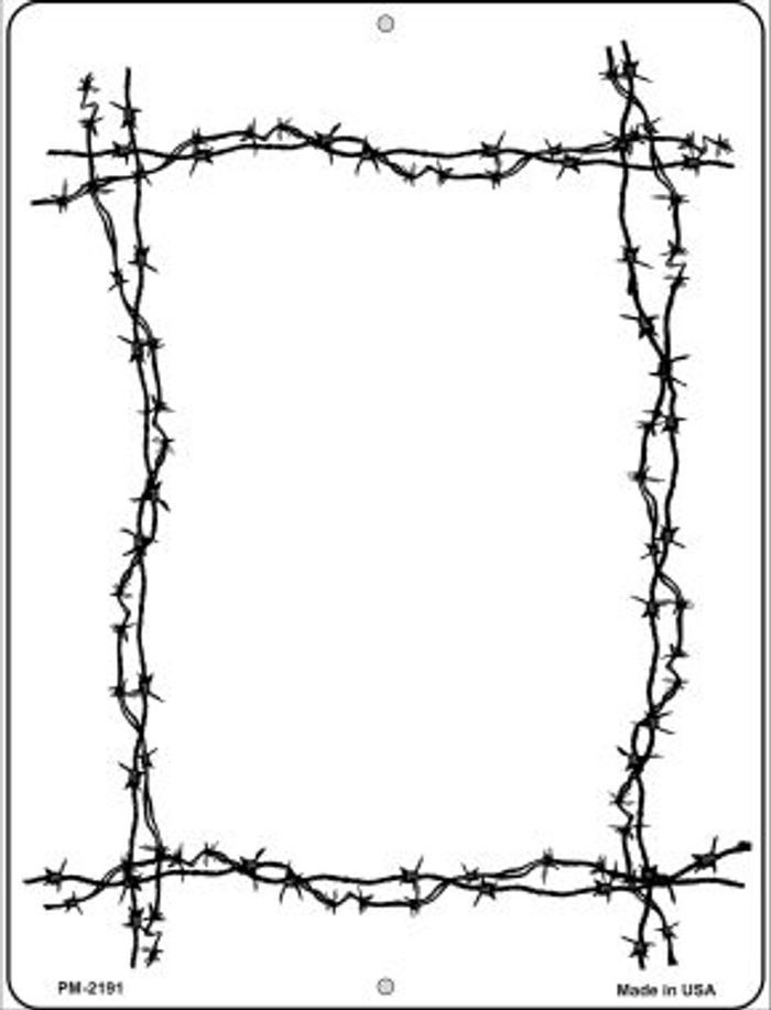 Black Barbed Wire Border Novelty Mini Metal Parking Sign PM-2191