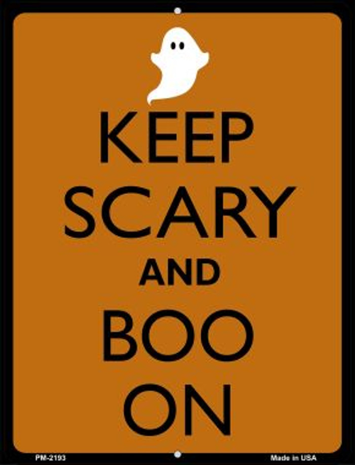 Keep Calm And Boo On Novelty Mini Metal Parking Sign PM-2193