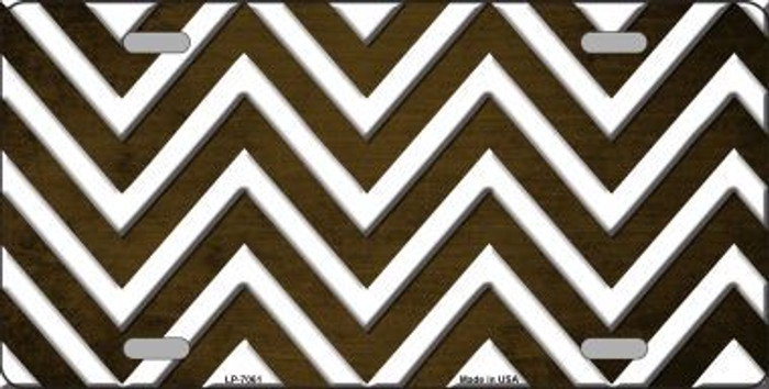 Brown White Chevron Oil Rubbed Metal Novelty License Plate