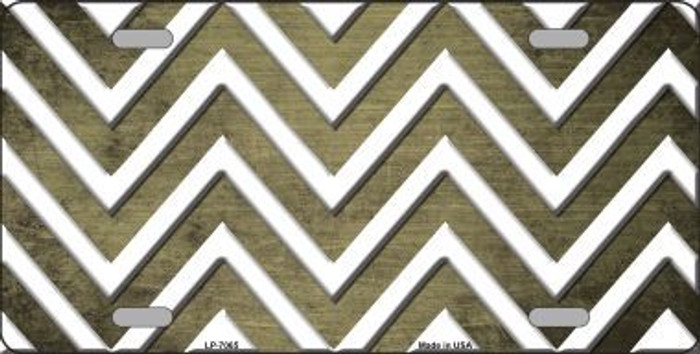 Gold White Chevron Oil Rubbed Metal Novelty License Plate