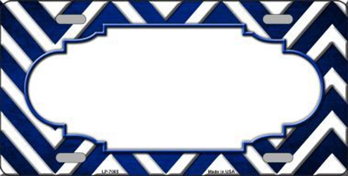 Blue White Scallop Chevron Oil Rubbed Metal Novelty License Plate