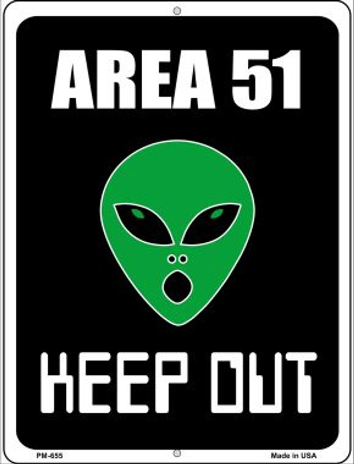 Area 51 Keep Out Novelty Mini Metal Parking Sign PM-655
