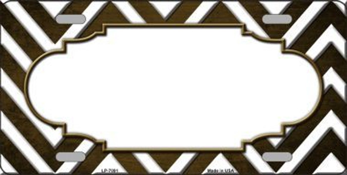 Brown White Scallop Chevron Oil Rubbed Metal Novelty License Plate