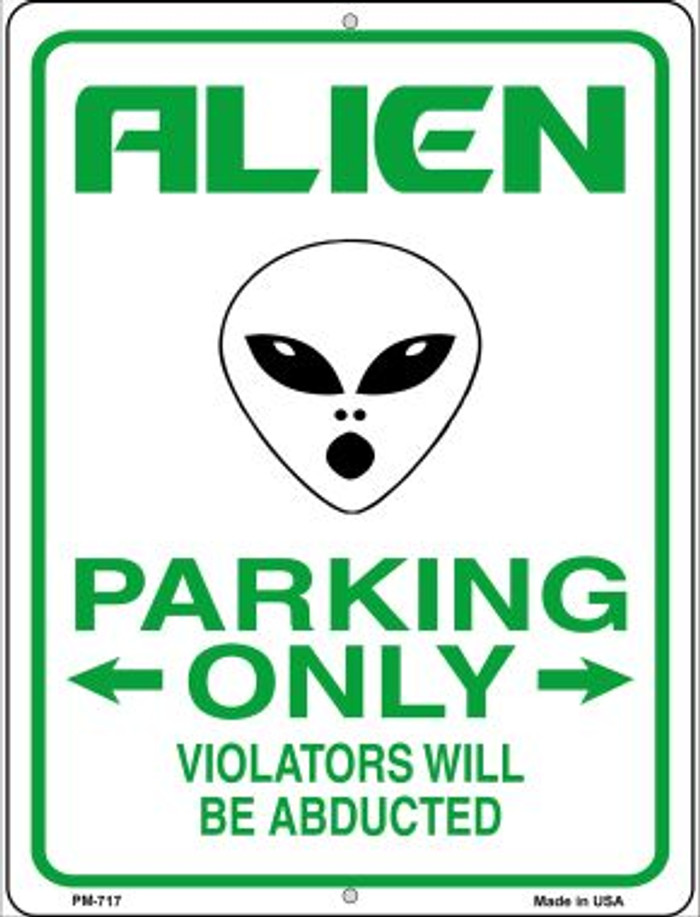 Alien Parking Novelty Mini Metal Parking Sign PM-717