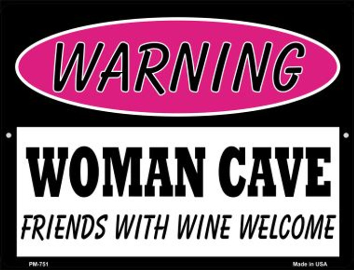 Friends With Wine Welcome Novelty Mini Metal Parking Sign PM-751