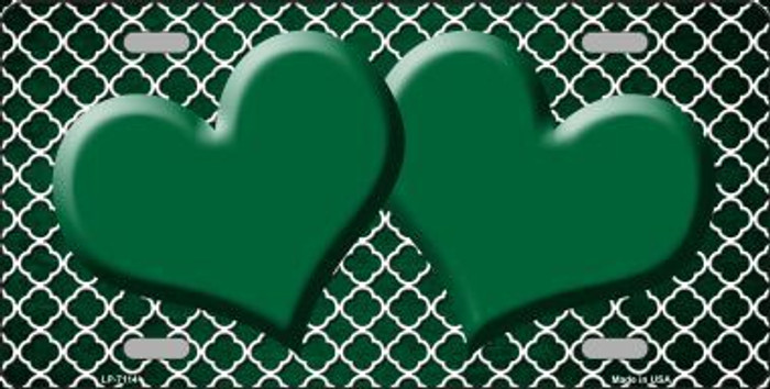 Green White Quatrefoil Hearts Oil Rubbed Metal Novelty License Plate
