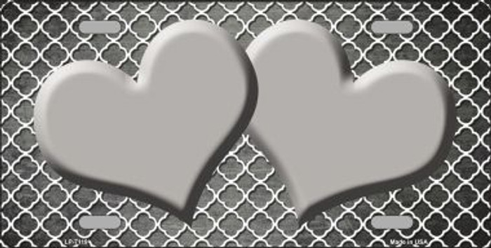 Gray White Quatrefoil Hearts Oil Rubbed Metal Novelty License Plate