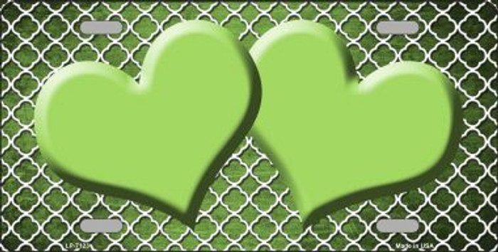 Lime Green White Quatrefoil Hearts Oil Rubbed Metal Novelty License Plate
