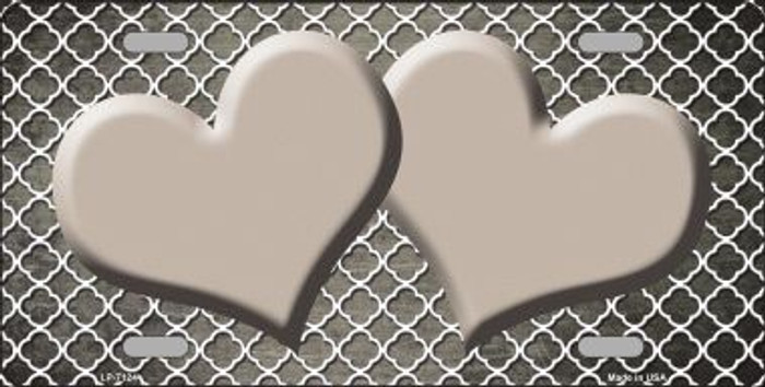 Tan White Quatrefoil Hearts Oil Rubbed Metal Novelty License Plate