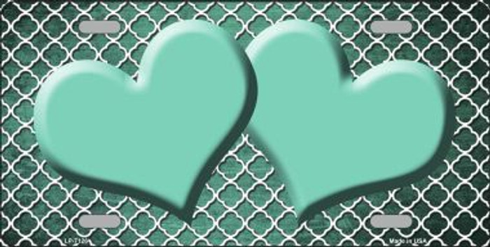 Mint White Quatrefoil Hearts Print Oil Rubbed Metal Novelty License Plate