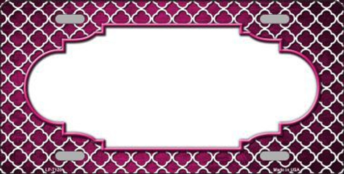 Pink White Quatrefoil Scallop Print Oil Rubbed Metal Novelty License Plate