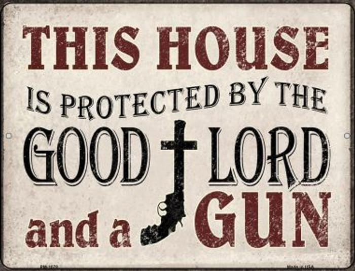 Protected By The Lord And Gun Novelty Mini Metal Parking Sign PM-1078