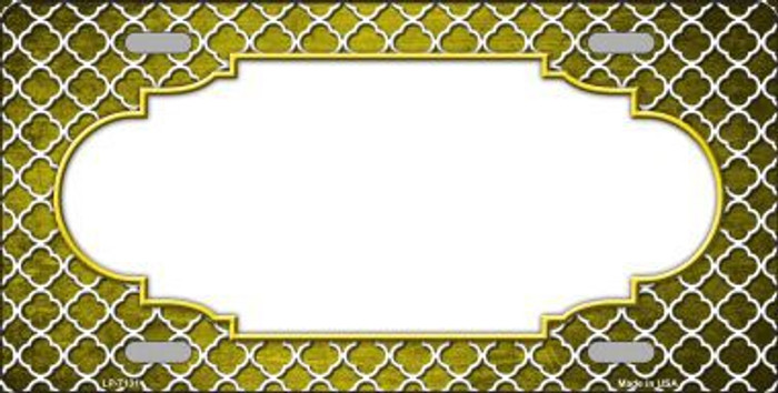 Yellow White Quatrefoil Scallop Print Oil Rubbed Metal Novelty License Plate
