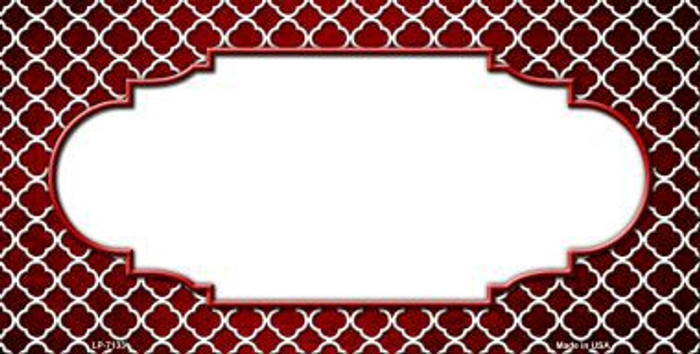Red White Quatrefoil Scallop Print Oil Rubbed Metal Novelty License Plate