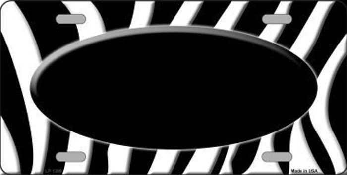 Black White Zebra Pattern With Center Oval Metal Novelty License Plate
