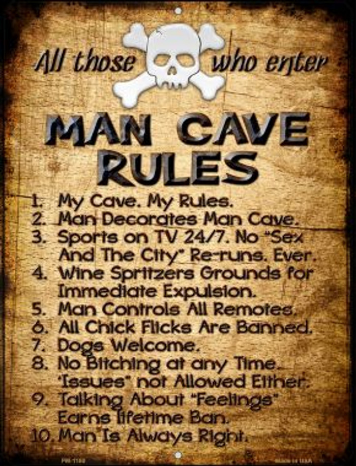 Man Cave Rules Novelty Mini Metal Parking Sign PM-1180