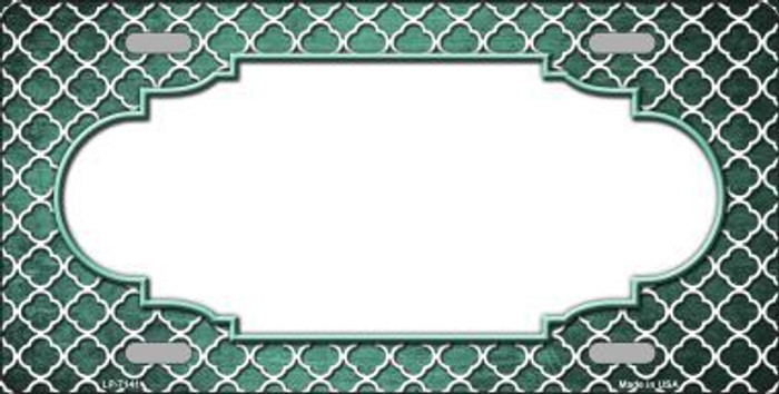 Mint White Quatrefoil Scallop Print Oil Rubbed Metal Novelty License Plate