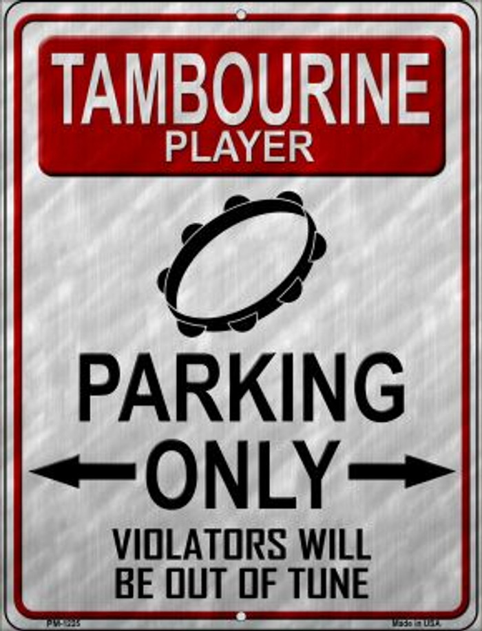 Tambourine Player Parking Novelty Mini Metal Parking Sign PM-1225