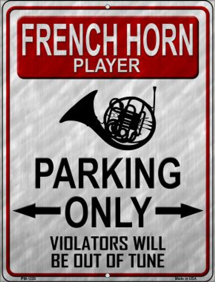 French Horn Player Parking Novelty Mini Metal Parking Sign PM-1226