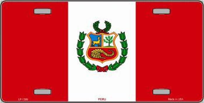 Peru Flag Metal Novelty License Plate