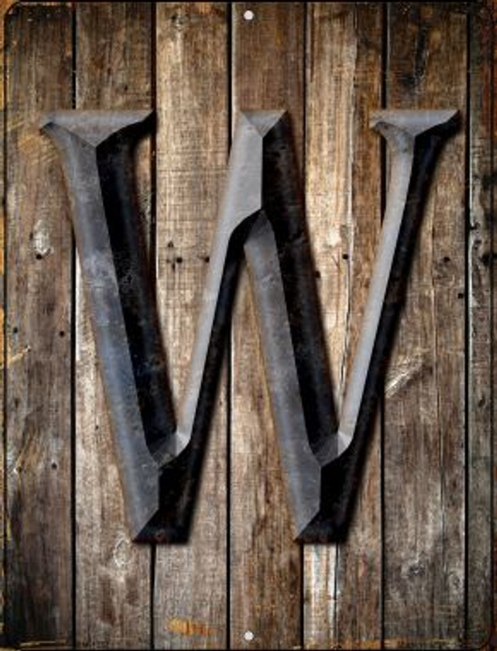 Letter W Novelty Mini Metal Parking Sign PM-1287