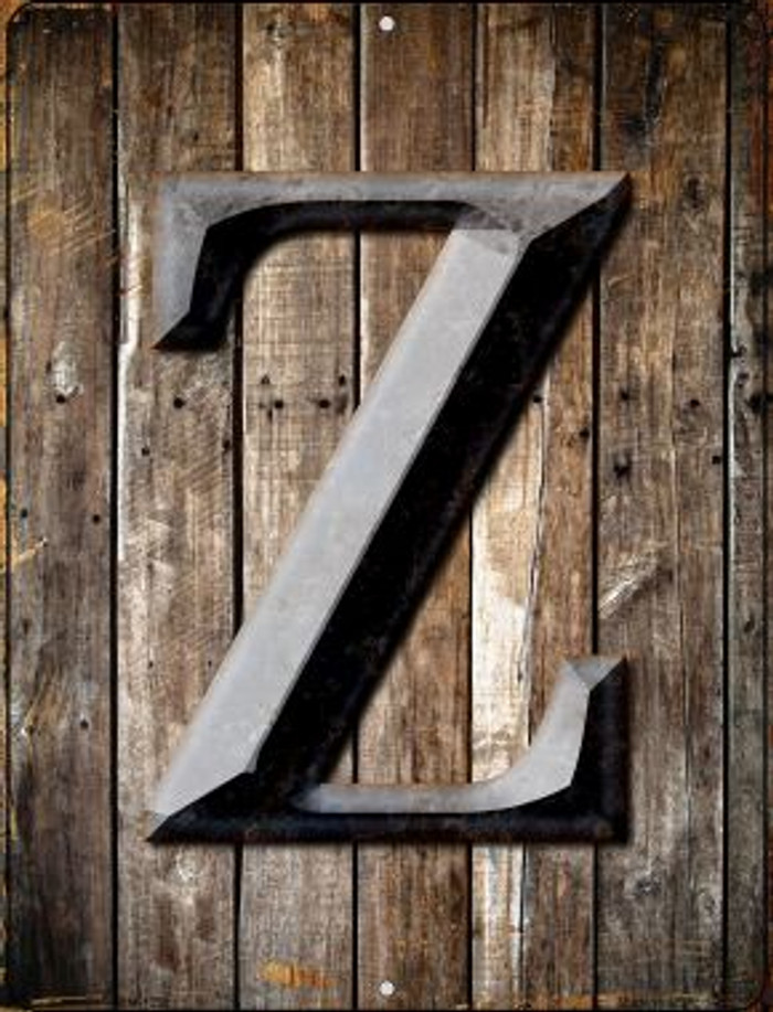 Letter Z Novelty Mini Metal Parking Sign PM-1290