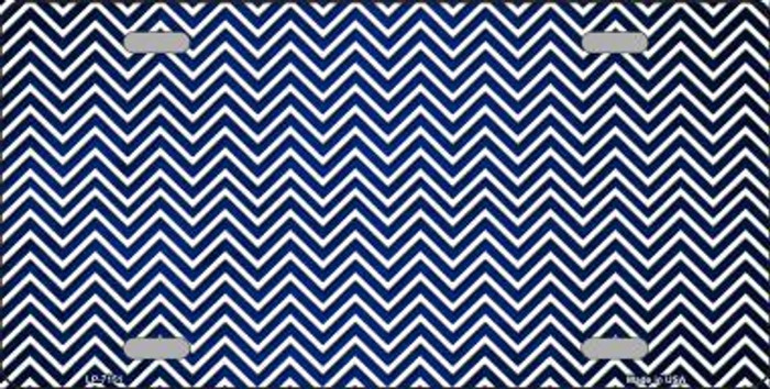Blue White Small Chevron Print Oil Rubbed Metal Novelty License Plate