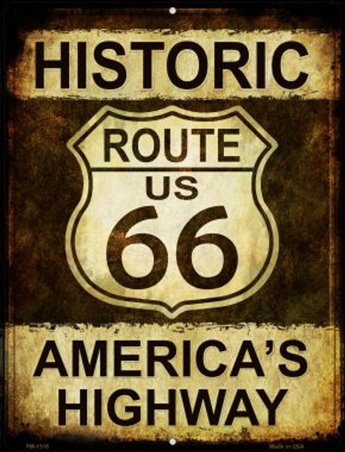 Historic Route 66 Novelty Mini Metal Parking Sign PM-1316
