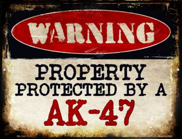An AK-47 Novelty Mini Metal Parking Sign PM-1341