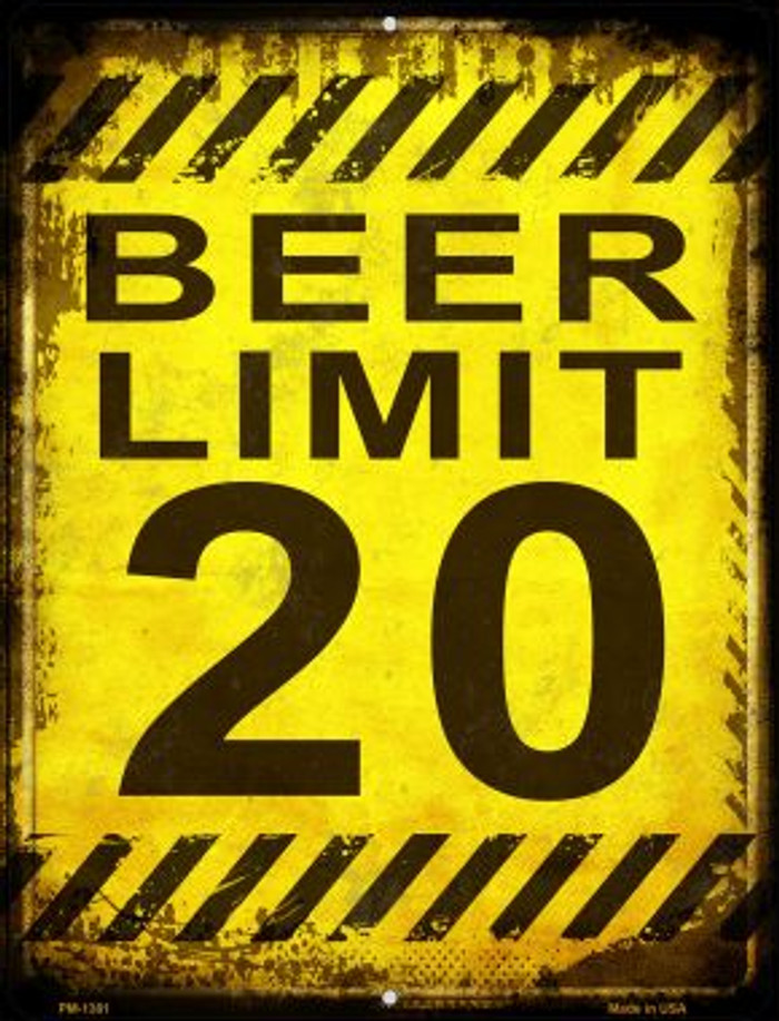 Beer Limit Novelty Mini Metal Parking Sign PM-1381