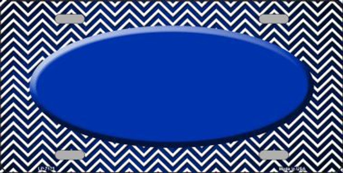 Blue White Small Chevron Oval Print Oil Rubbed Metal Novelty License Plate