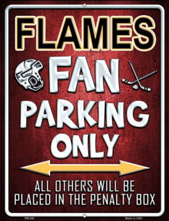 Flames Novelty Mini Metal Parking Sign PM-340