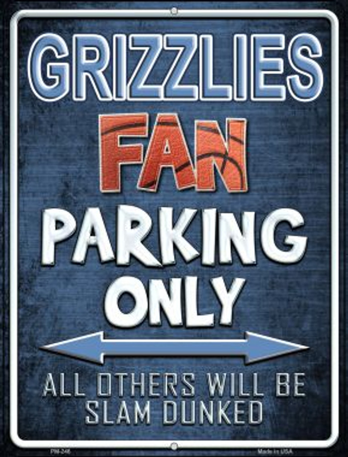 Grizzlies Novelty Mini Metal Parking Sign PM-246