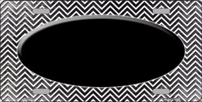 Black White Small Chevron Oval Print Oil Rubbed Metal Novelty License Plate