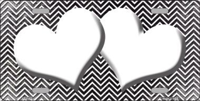 Black White Small Chevron Hearts Print Oil Rubbed Metal Novelty License Plate
