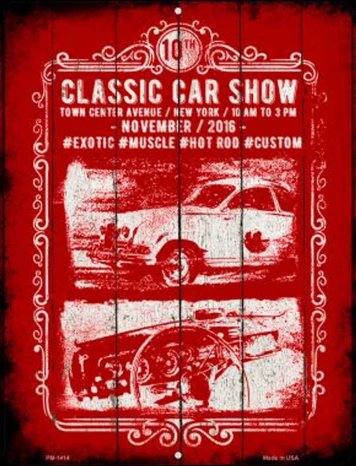 Classic Car Show Novelty Mini Metal Parking Sign PM-1414