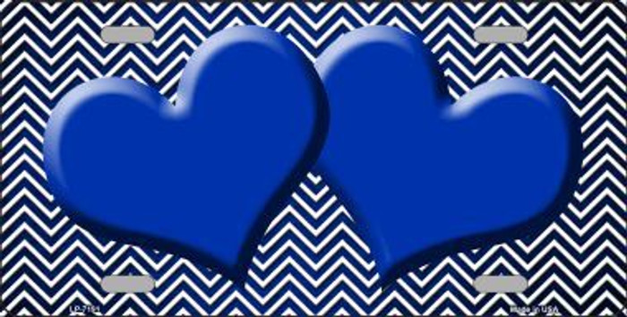 Blue White Small Chevron Hearts Print Oil Rubbed Metal Novelty License Plate