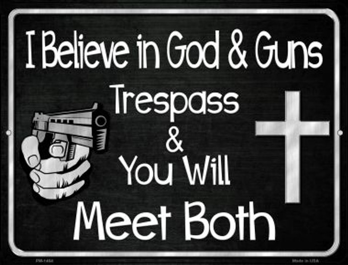 God And Guns Novelty Mini Metal Parking Sign PM-1464
